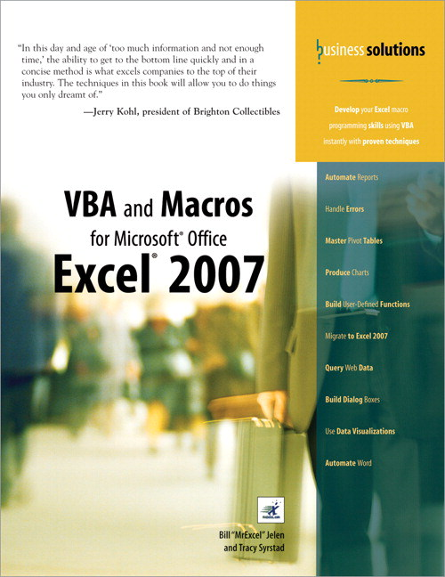 VBA and Macros for Microsoft Office Excel 2007