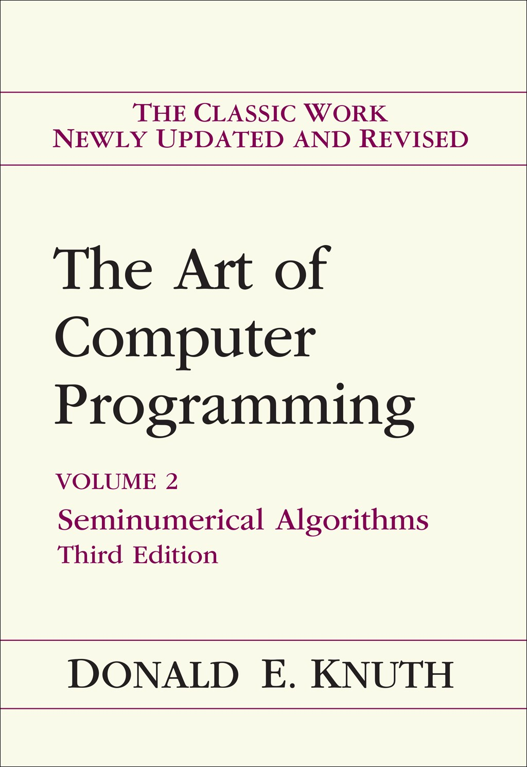 Art of Computer Programming, Volume 2: Seminumerical Algorithms, 3rd Edition